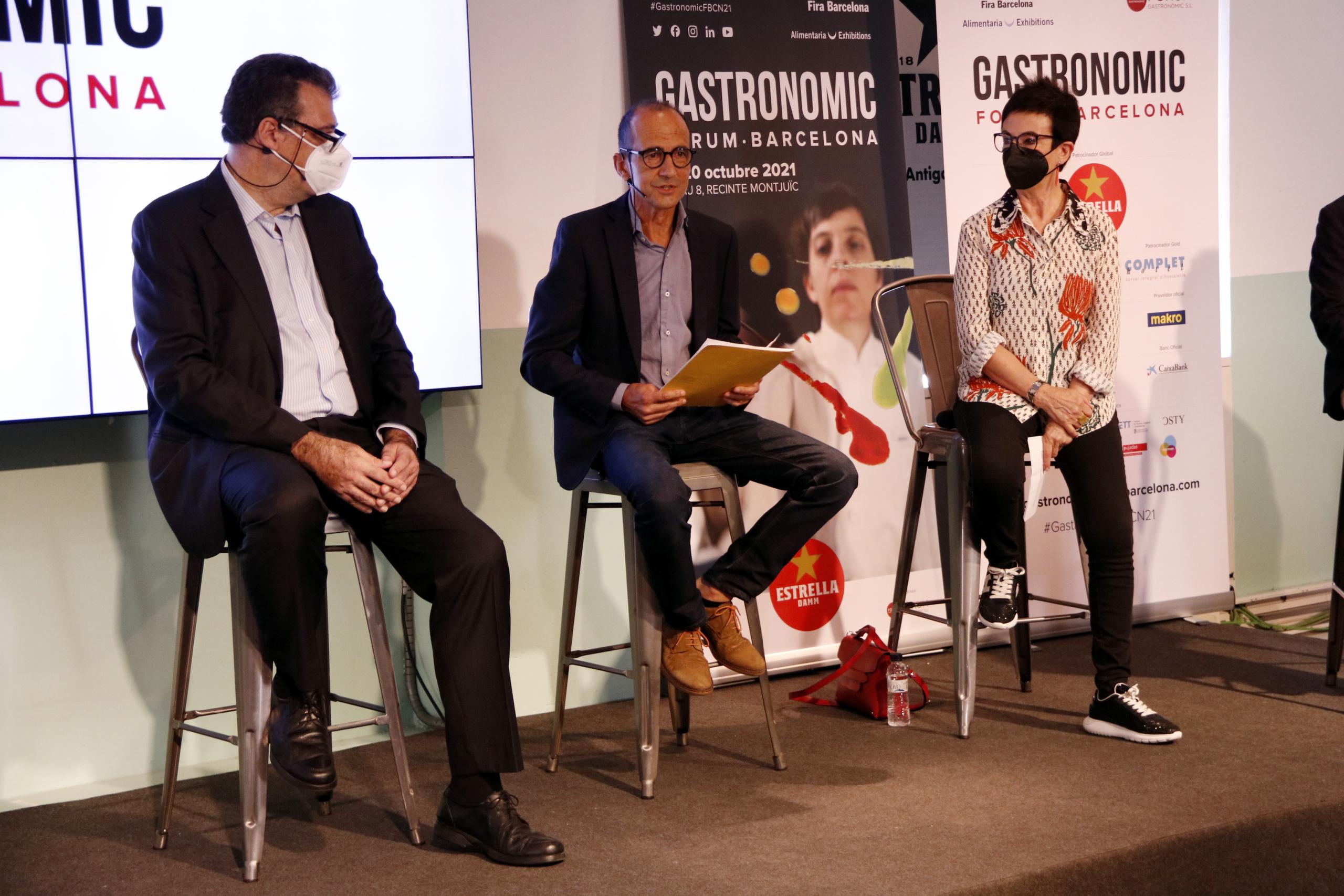 Josep Alcaraz, Pep Palau i Carme Ruscalleda en la presentació del Gastronomic Forum Barcelona | ACN